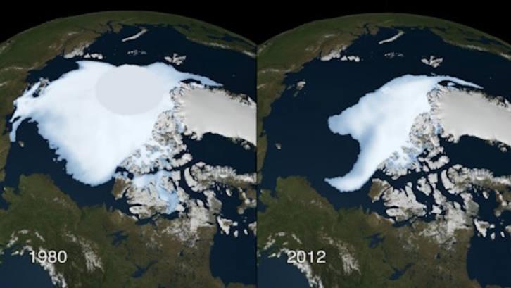 Arktyka w 1980 i 2012 roku
