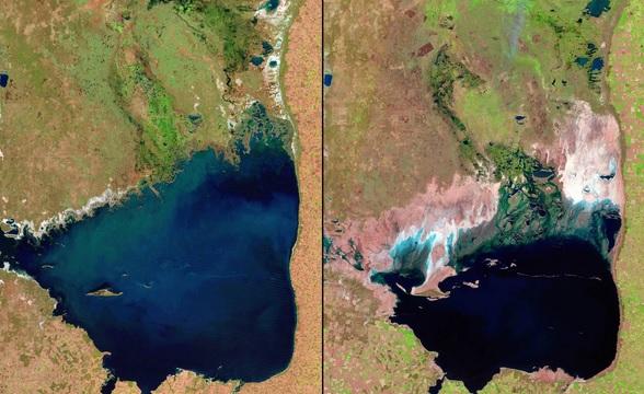 Jezioro Shrinking Mar Chiquita w Argentynie w 1998 i 2011 roku