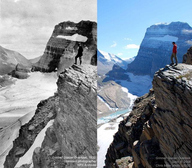 Grinnell Glacier Overlook w 1920 i 2008 roku