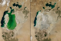 Morze Aralskie w 2000 i 2014 roku