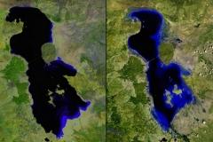 Jezioro Shrinking Lake w Iranie w 2000 i 2013 roku