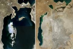 Morze Aralskie w 1989 i 2014 roku