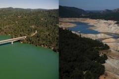 Jezioro Oroville w 2011 i 2014 roku
