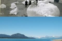 Alaskan Muir Glacier w 1880 i 2005 roku